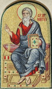 Matthew the Apostle, detail of mosaic from facade of the Romanian Patriarchal Cathedral, Bucharest, Europe