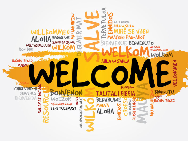 38302636 - welcome in different languages word cloud, business concept