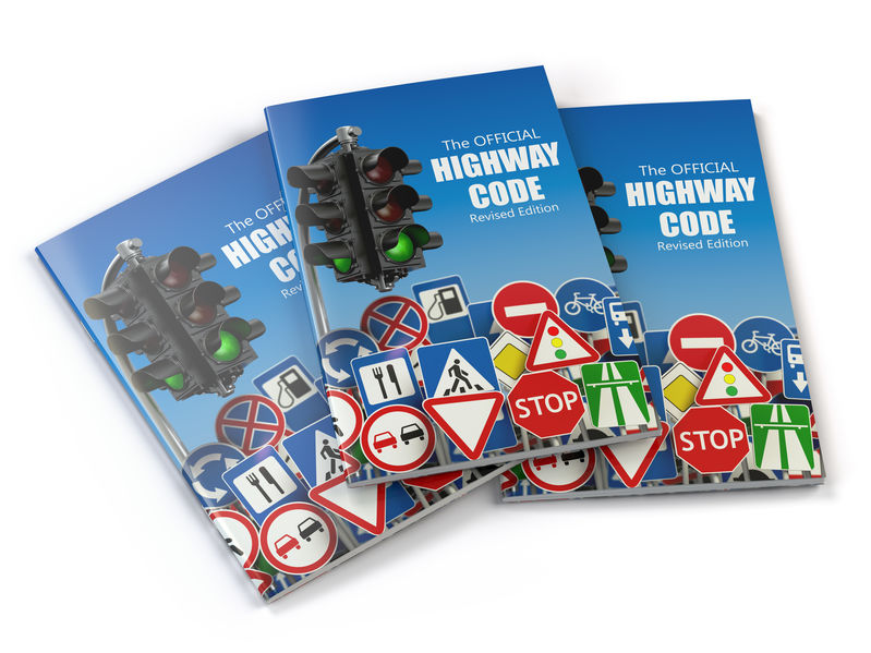 Highway code book.  Book of traffic rules and law with traffic r